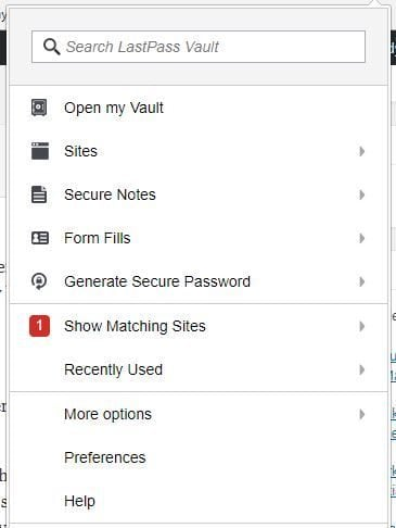 password manager - lastpass browser extension
