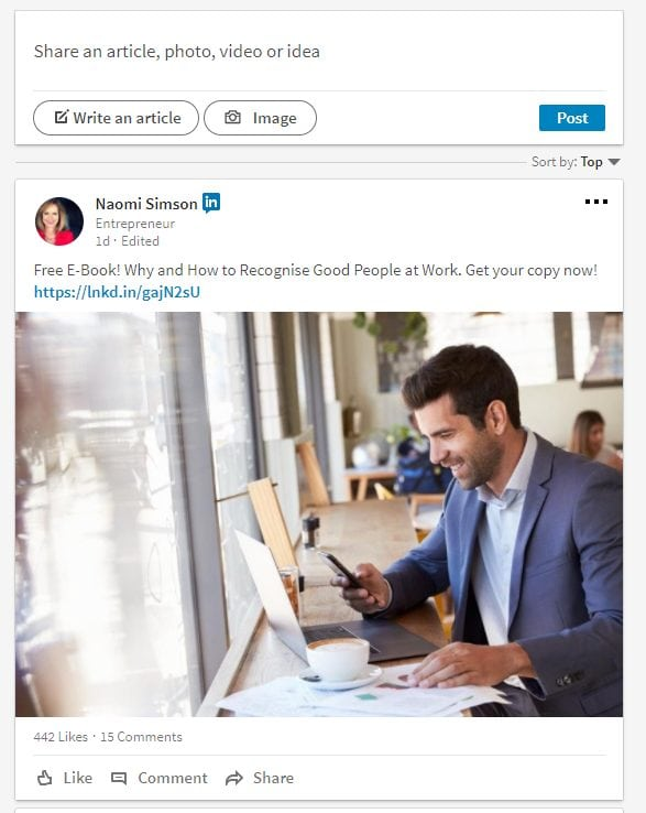 linkedin news feed