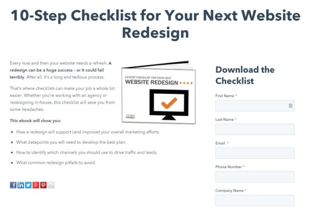 Lead Magnet Examples - hubspot checklist