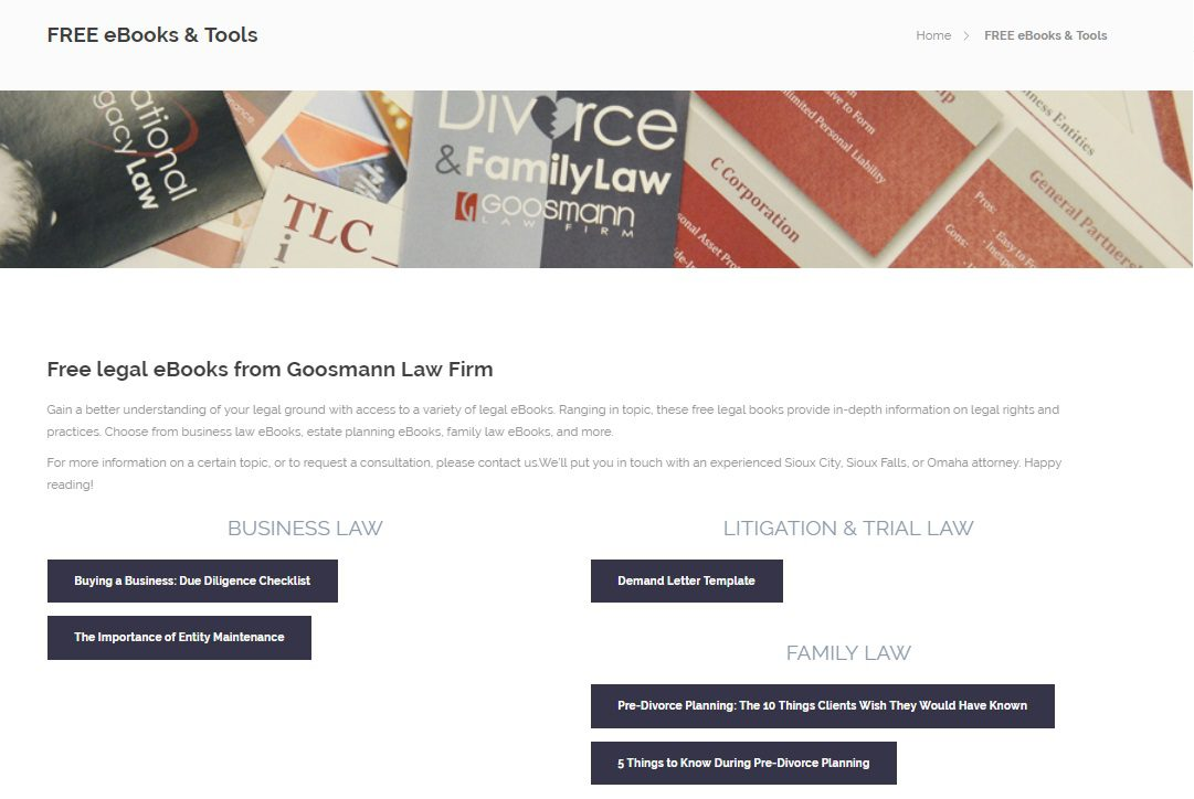 Lead Magnet Example - goosman law firm templates