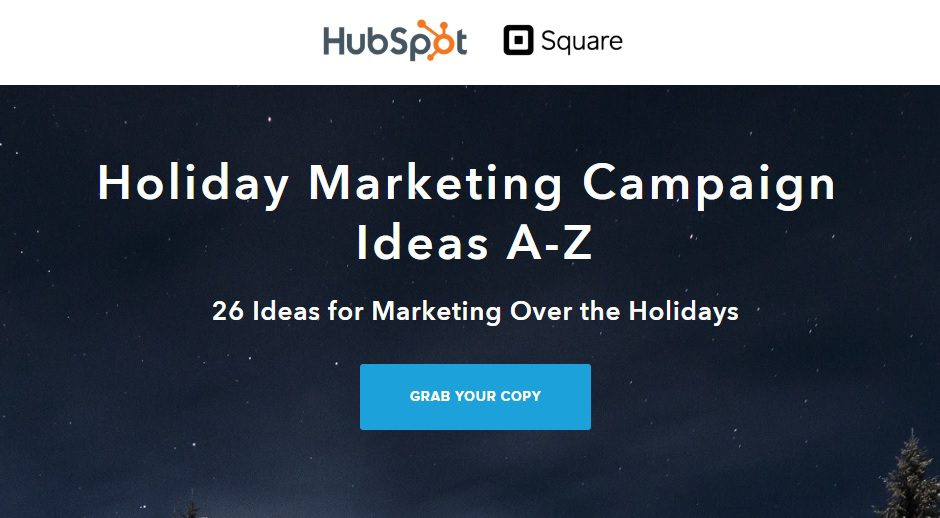 Lead Magnet Examples - hubspot holiday list