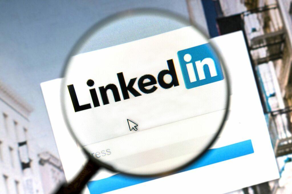 Ostersund, Sweden -August 1, 2015: Linkedin website under a magnifying glass. Linkedin is a business oriented social networking website.