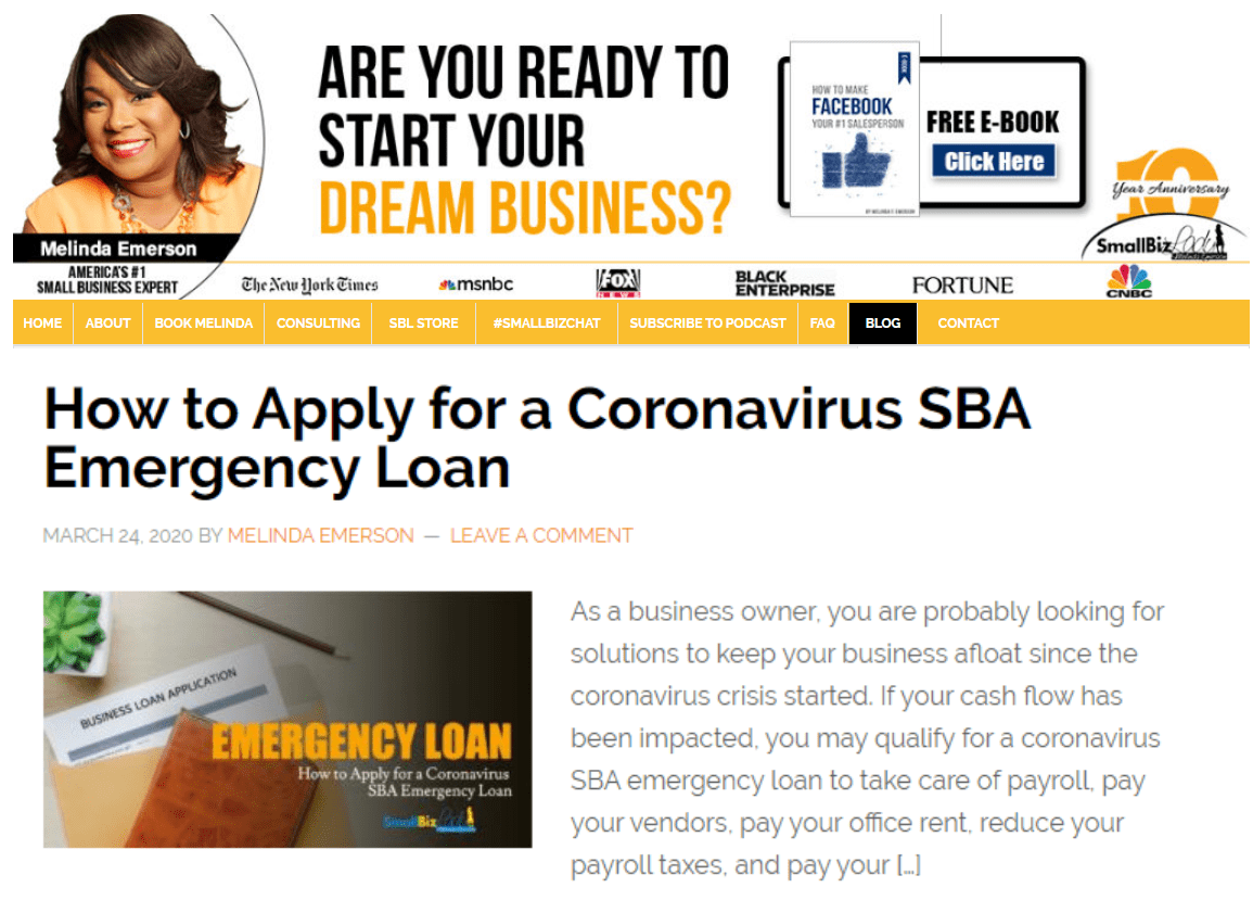 content marketing during a crisis - sba loan help from Melinda Emerson